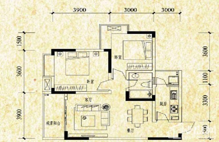 A栋标准层A1户型图