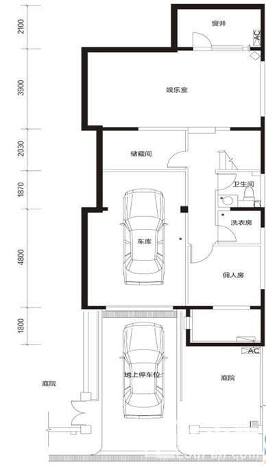 臻泉联院D2 地下一层户型图