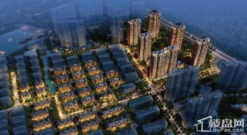 秀兰左岸小镇鸟瞰夜景图