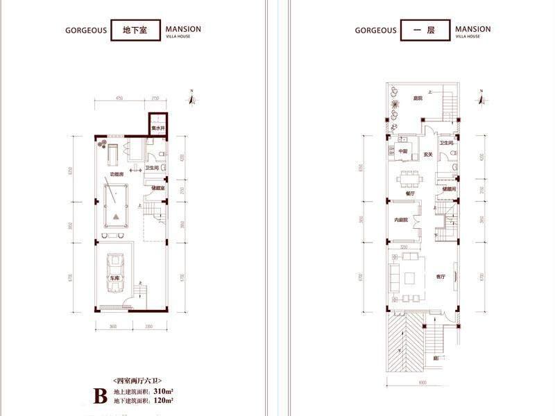 一期别墅B户型地下及一层