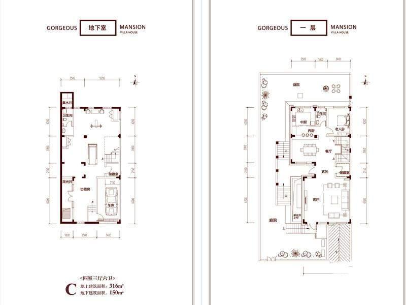 一期别墅C户型地下及一层