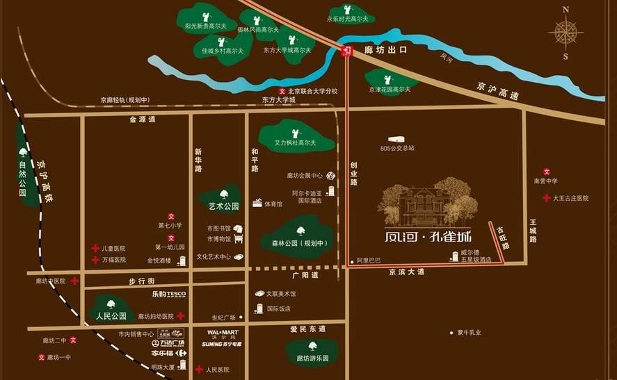 凤河孔雀城位置图