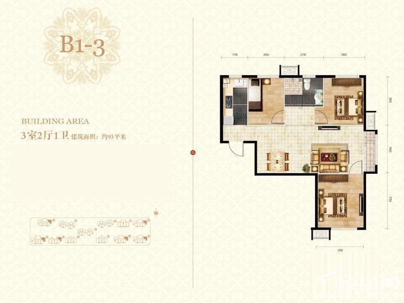 二期高层标准层b1-3-01户型