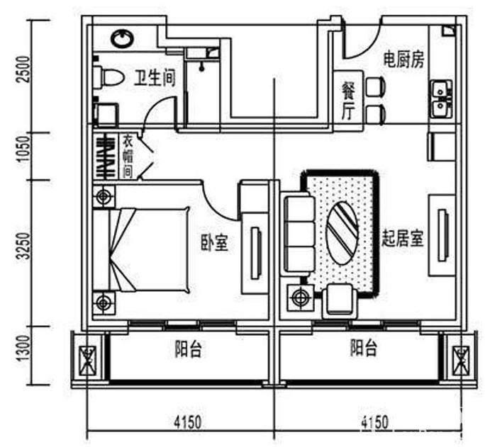 北京汤泉墅(南宫景苑)1室1厅1卫户型图-北京楼盘网