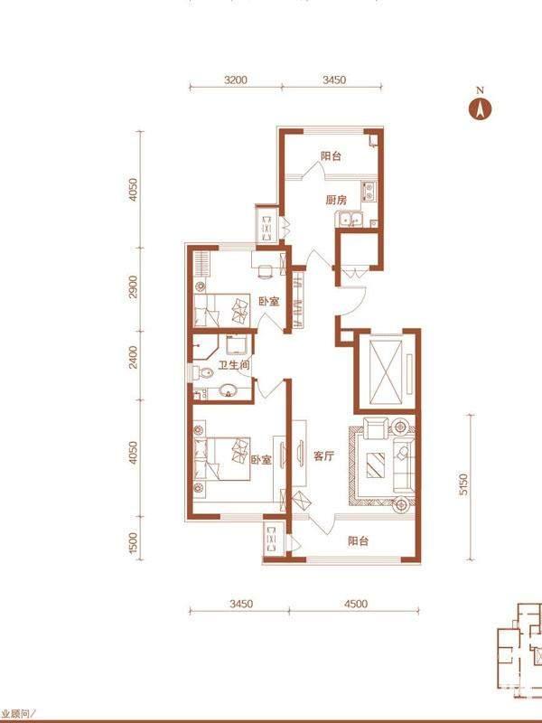 高层28号楼标准层E户型