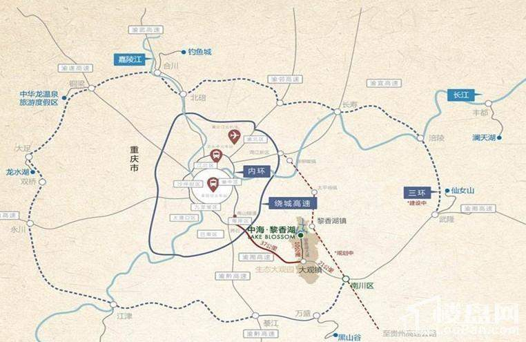 中海黎香湖交通区位图