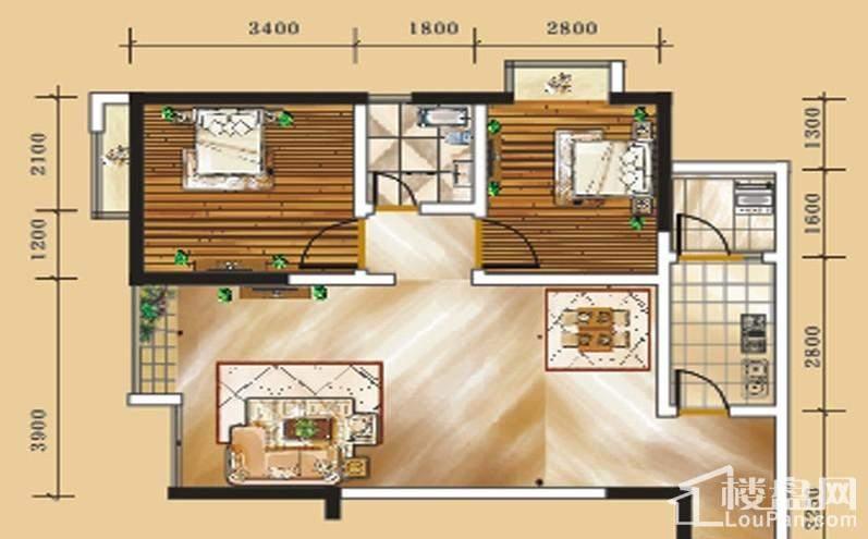 二期1号楼标准层2号房户型