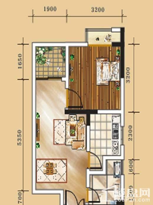 二期1号楼标准层3号房户型