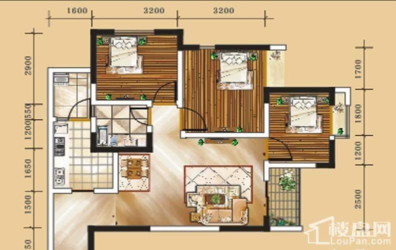 二期1号楼标准层4号房户型