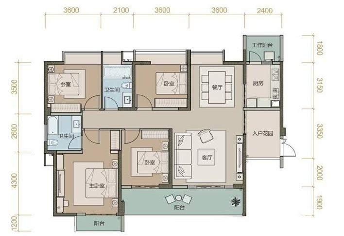 珑园一期1号楼标准层A1户型