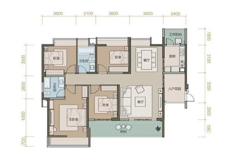 珑园一期2号楼标准层A2户型
