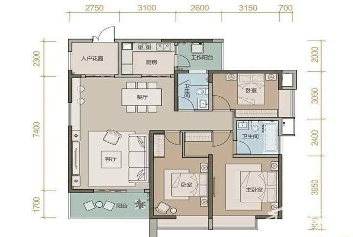珑园一期2号楼标准层1B2B户型