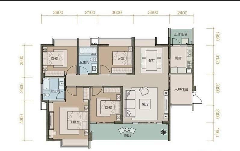 珑园一期2号楼标准层A1户型