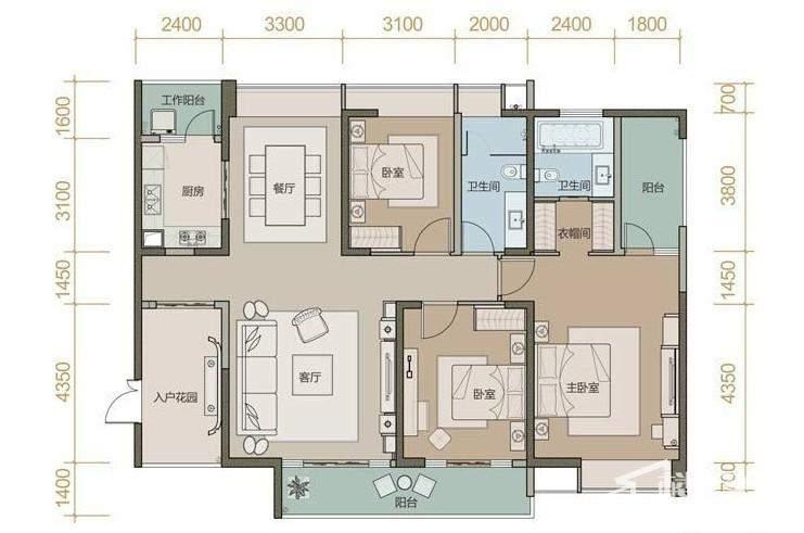 珑园一期1号楼标准层C户型