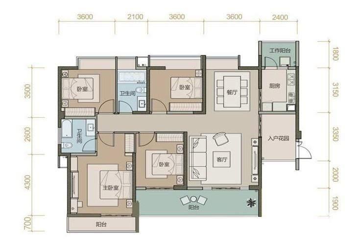 珑园一期1号楼标准层A2户型