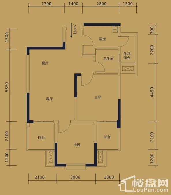 二期黛瑰苑9/10号楼标准层1号房