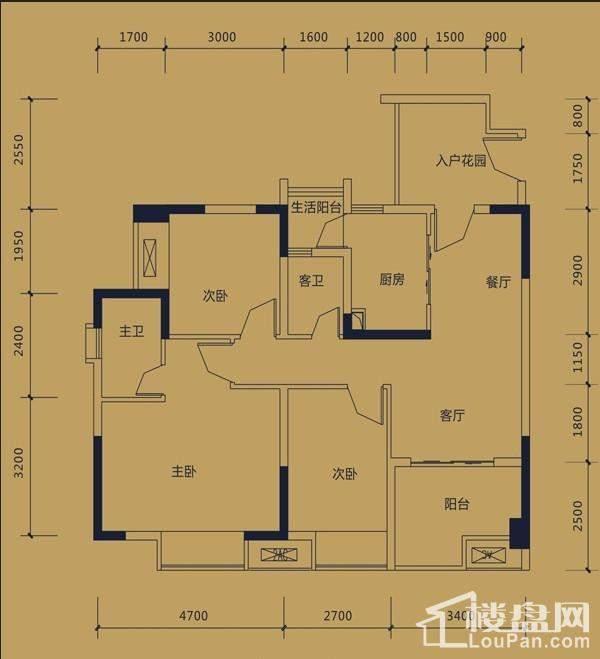 黛瑰苑2/12号楼标准层2号房