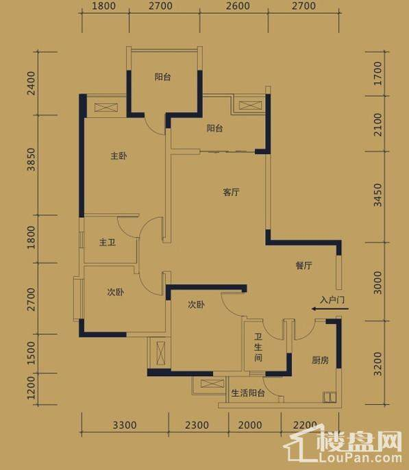 黛瑰苑9/10号楼标准层3号房