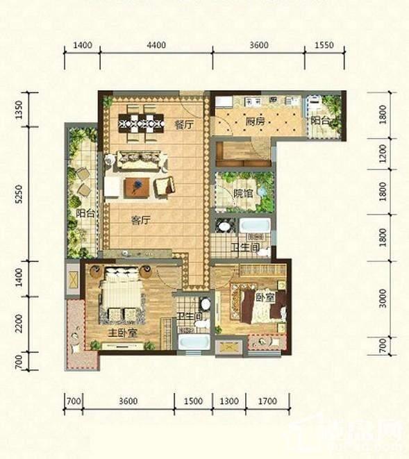 2期高层14、15号楼标准层H1-2户型