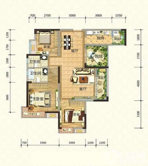 2期高层14、15号楼标准层H1-7户型