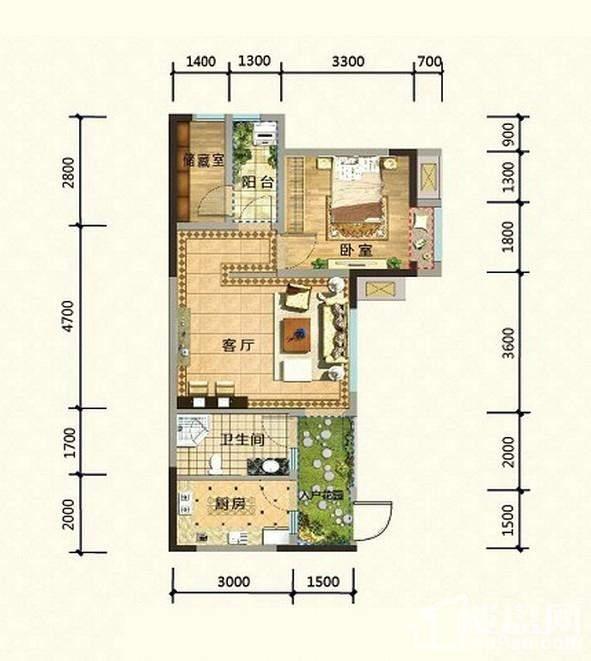 2期高层14、15号楼标准层H1-5户型