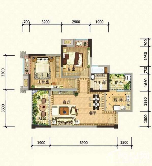 2期高层14、15号楼标准层H1-6户型