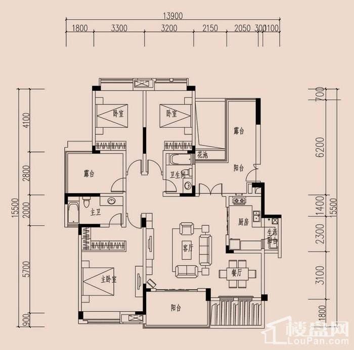 二期17/21/24栋标准层E3户型