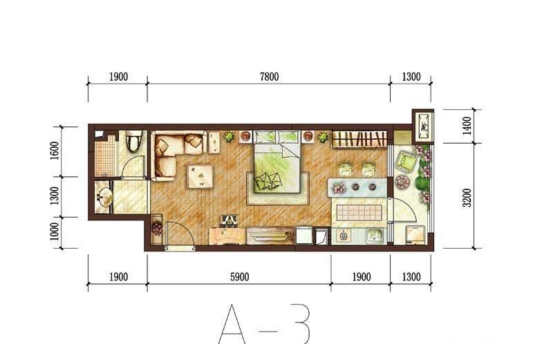 一期27号楼标准层A-3户型