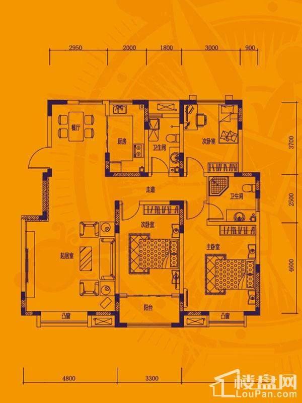 一期洋房产品标准层F户型
