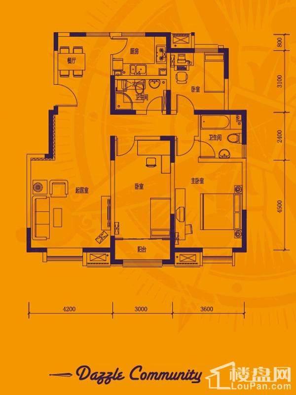 一期洋房产品标准层G户型