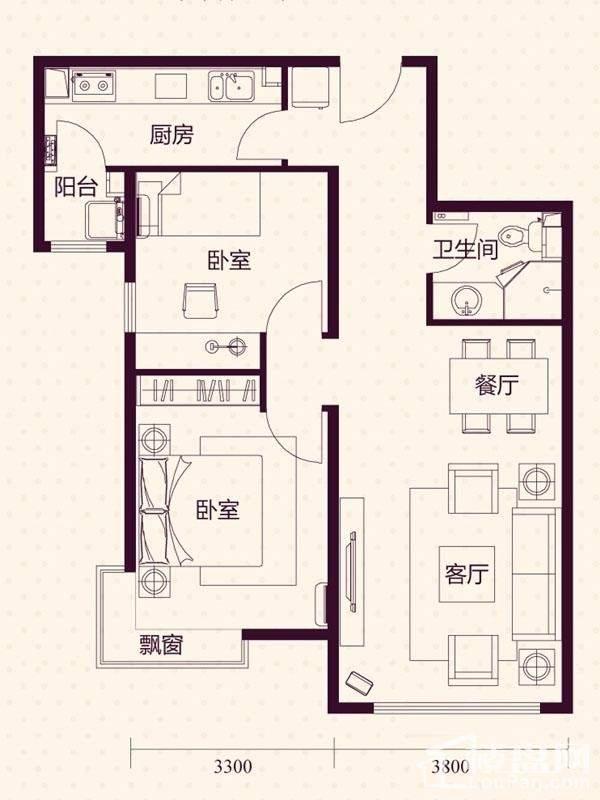 11、18层高层B户型户型图