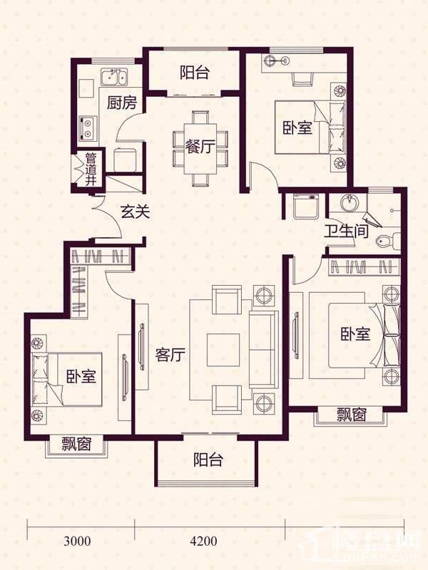 14-19号楼洋房A户型户型图