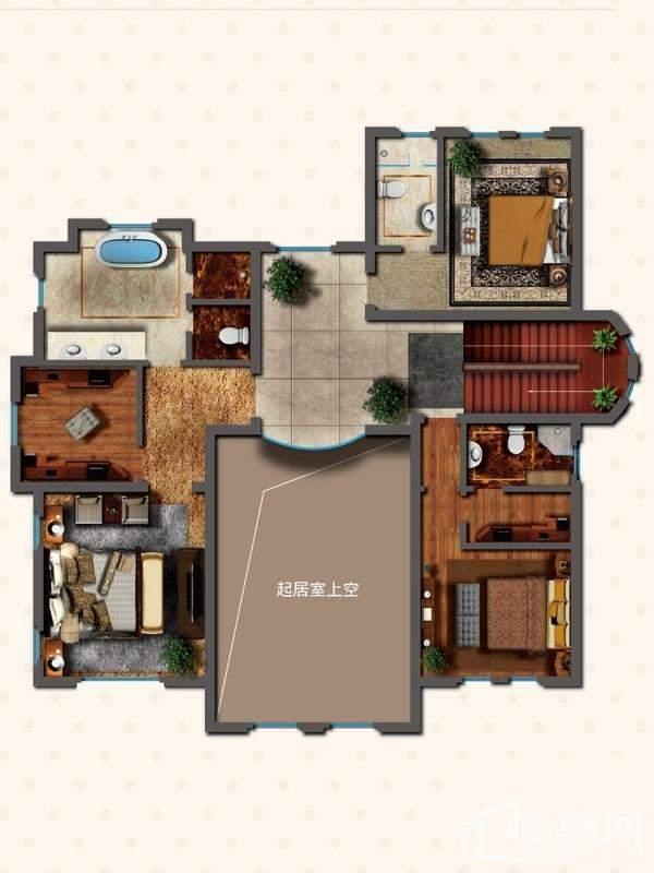 独栋别墅DN1户型二层户型图