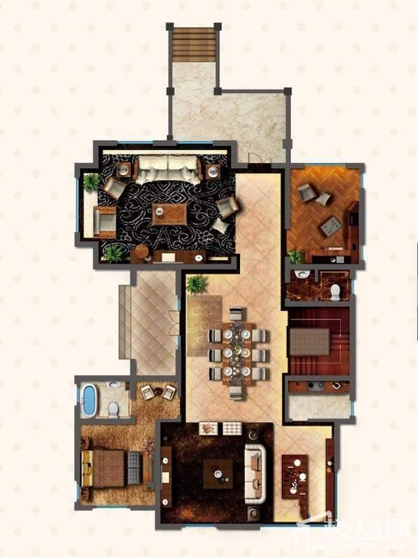 独栋别墅DN1户型首层户型图
