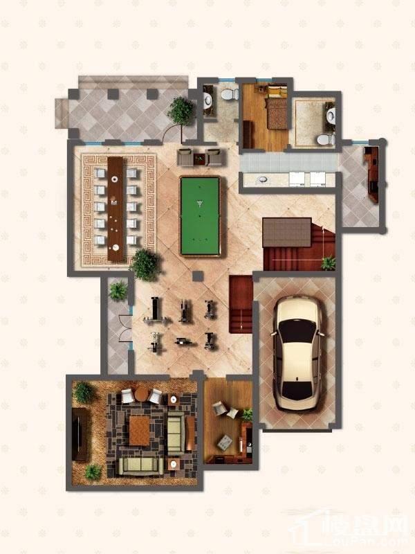 独栋别墅DS1户型地下一层户型图