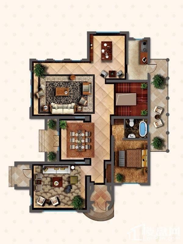 独栋别墅DS1户型首层户型图