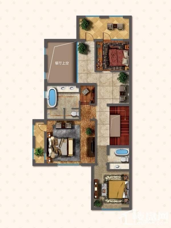 联排别墅LNA1户型二层户型图