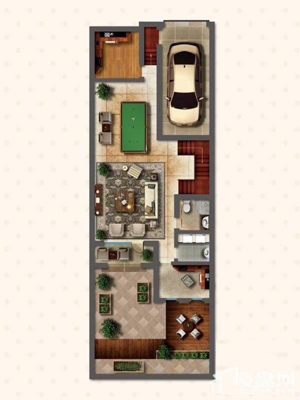联排别墅LNB1户型地下一层户型图