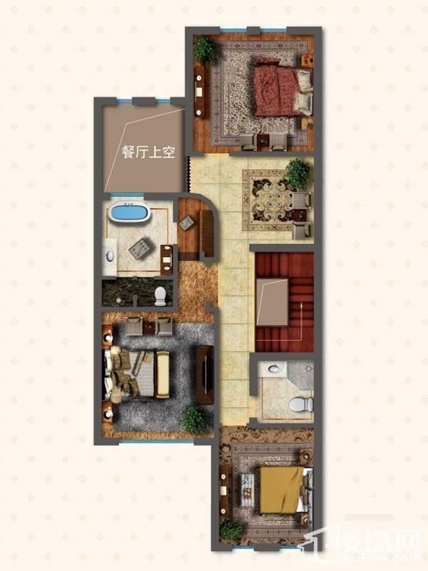 联排别墅LNB1户型二层户型图