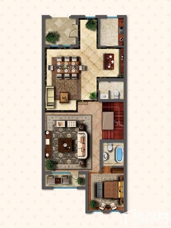 联排别墅LNB1户型首层户型图