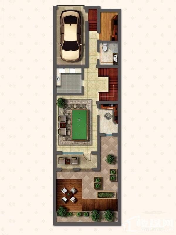 联排别墅LNC1户型地下一层户型图