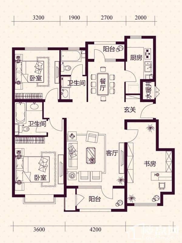 五层洋房B1户型户型图