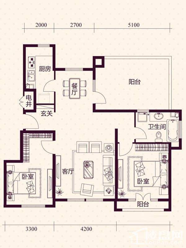 五层洋房B6户型户型图