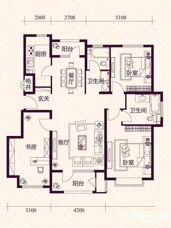 五层洋房B户型户型图