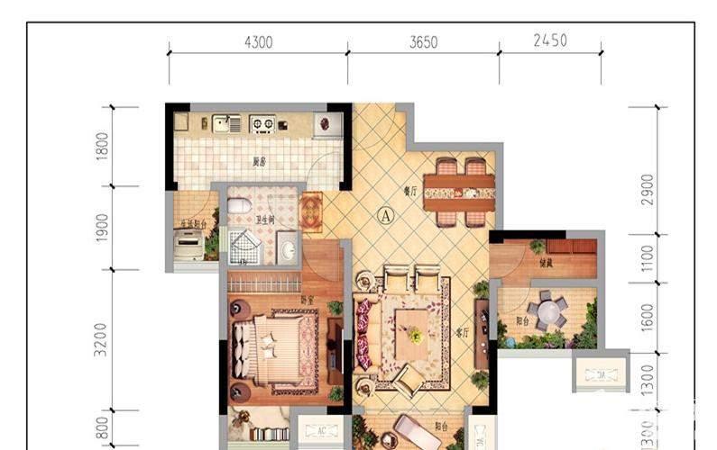 一期1、2、8-13号楼标准层C户型
