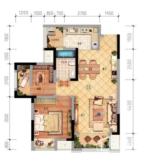 一期1、2、8、9号楼标准层B户型