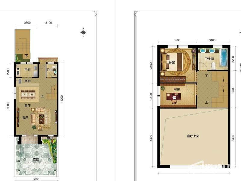 1期别墅G1户型一二层