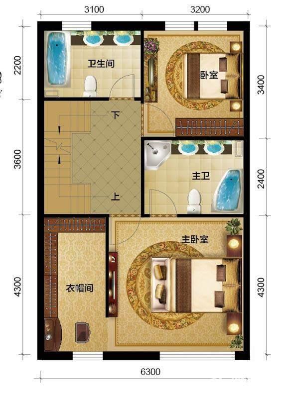 1期别墅H1户型三层