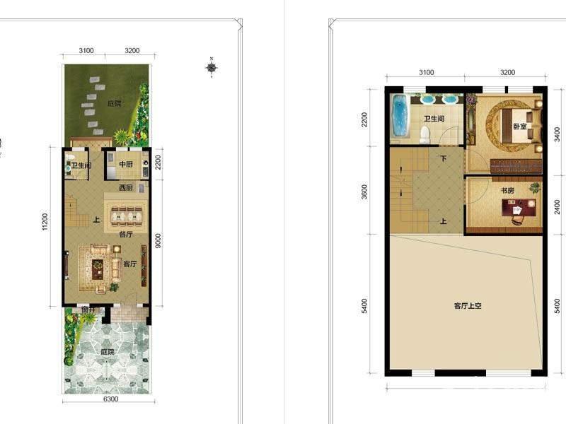 1期别墅H1户型一二层