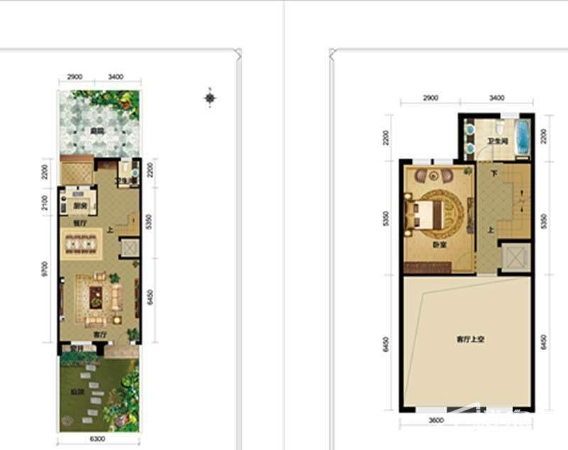 一期别墅E2户型一二层